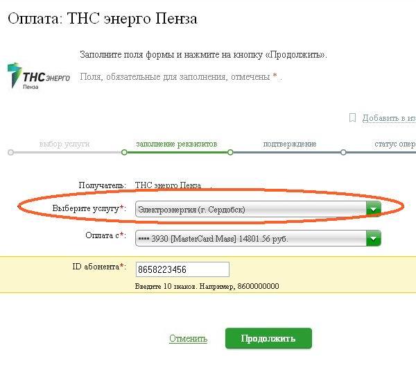 Выбор услуги ТНС энерго